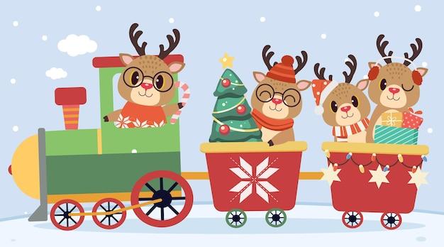 Uroczy świąteczny pociąg z jeleniami jadącymi i siedzącymi w pociągu z choinką i pudełkami na prezenty