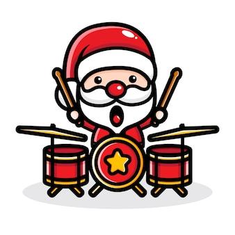 Uroczy święty mikołaj grający na perkusji