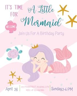 Uroczy syrenka tematu przyjęcie urodzinowe zaproszenia karty wektoru ilustracja.