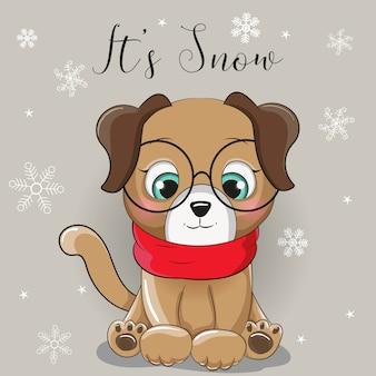 Uroczy szczeniak ze śniegiem w tle