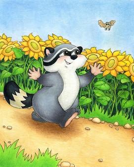 Uroczy szop pracz radośnie biegnie ścieżką wśród słoneczników w piękny letni dzień