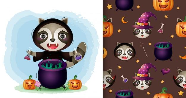 Uroczy szop pracz z kolekcją halloween kostiumów czarownicy. bez szwu wzorów i ilustracji