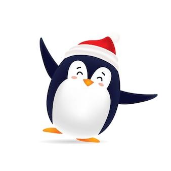 Uroczy taniec pingwina z czerwoną czapką