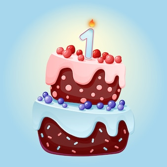 Uroczy tort urodzinowy kreskówka jeden rok z jedną świeczką.
