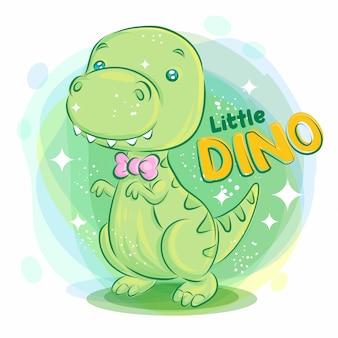 Uroczy uśmiech dino z różową wstążką na szyi. ilustracja kolorowy kreskówka.