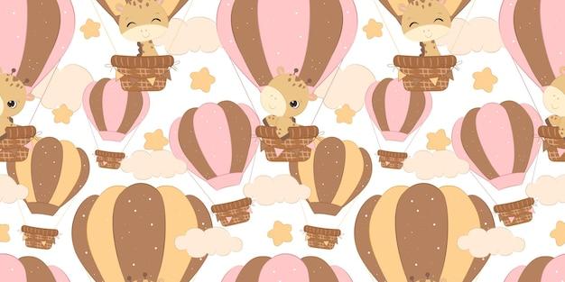 Uroczy wzór żyrafy na tapetę z tkaniny dla dzieci i wiele innych