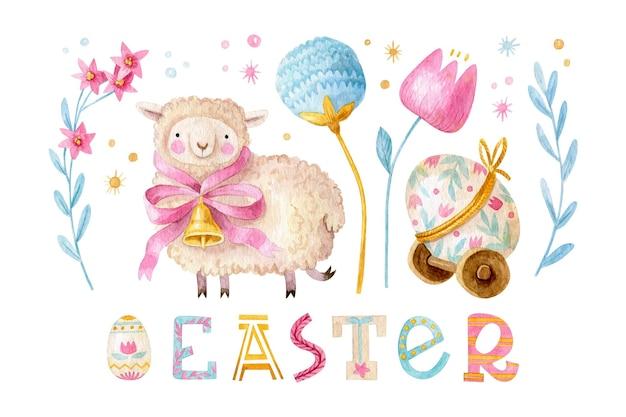 Uroczy zestaw wielkanocny z owieczką z kokardą i dzwonkiem