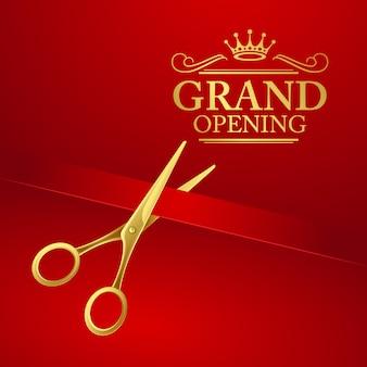 Uroczyste otwarcie ilustracja z czerwoną wstążką i złote nożyczki
