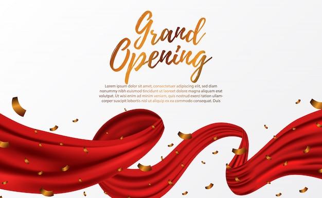 Uroczyste otwarcie luksusowej czerwonej jedwabnej wstążki