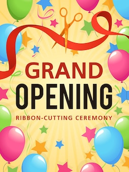 Uroczyste otwarcie prezentacji, karta z zaproszeniem, ulotka reklamowa ceremonii otwarcia sklepu, plakat promocyjny lub tło wektor certyfikatu ogłoszenia