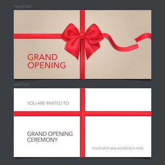 Uroczyste otwarcie, zaproszenie. szablon zaproszenia z czerwoną kokardą na ceremonię przecięcia wstążki z kopią ciała
