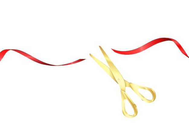 Uroczyste otwarcie. złote nożyczki przecinają czerwoną jedwabną wstążkę. rozpocznij świętowanie. realistyczne ilustracji wektorowych na białym tle