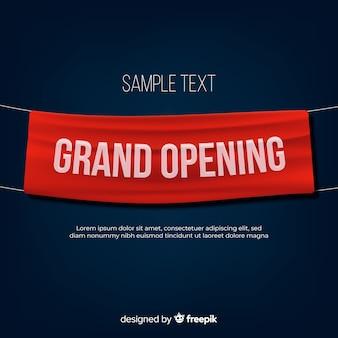 Uroczystego otwarcia tło z realistycznym tekstylnym sztandarem