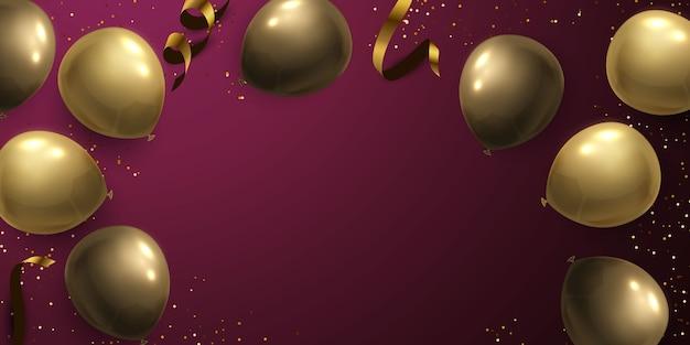 Uroczystość baner ze złotymi balonami