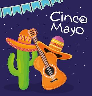 Uroczystość cinco de mayo z gitarą i kapeluszem meksykańskim