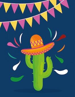Uroczystość cinco de mayo z meksykańskim kaktusem i kapeluszem