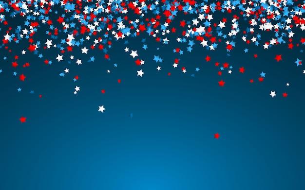 Uroczystość konfetti w barwach narodowych usa. świąteczne konfetti w kolorach flagi usa. 4 lipca dzień niepodległości