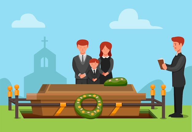 Uroczystość pogrzebowa w religii chrześcijańskiej. ludzie smutni członek rodziny zmarł ilustracja koncepcja sceny w wektorze kreskówki