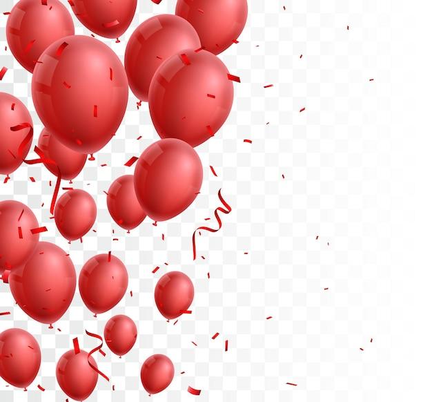 Uroczystość z czerwonym balonem i konfetti