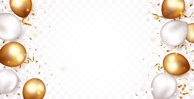 Uroczystość ze złotym konfetti i balonami
