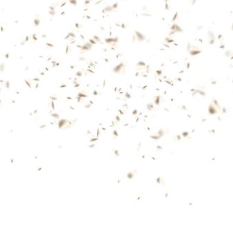 Uroczystość złotym konfetti na białym tle.