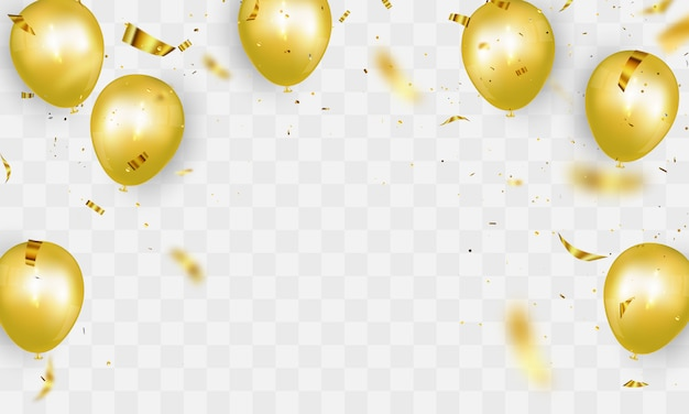 Uroczystości party transparent tło złote balony. ilustracja sprzedaży karta wielkiego otwarcia bogate powitanie.