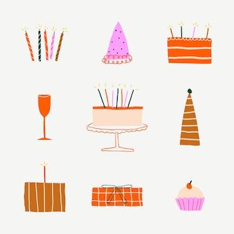 Uroczystości urodzinowe słodkie naklejki doodle zestaw