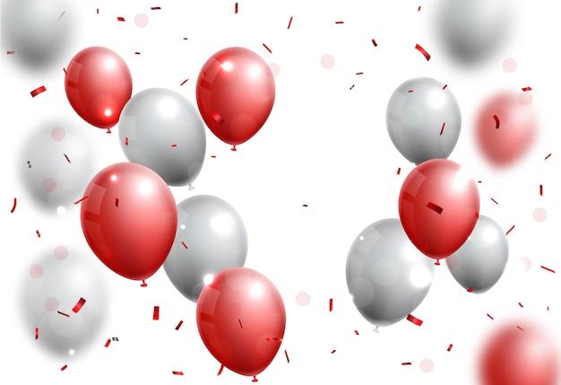 Uroczystości z czerwonym i srebrnym balonem