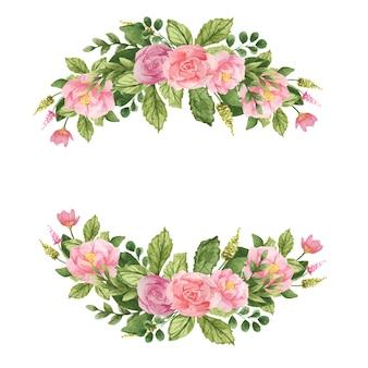 Uroczysty wieniec akwarelowy z kwiatów i liści