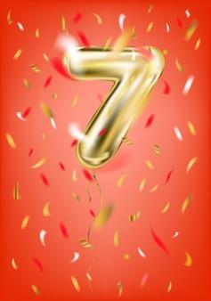 Uroczysty złoty balon siedem cyfr i konfetti folii