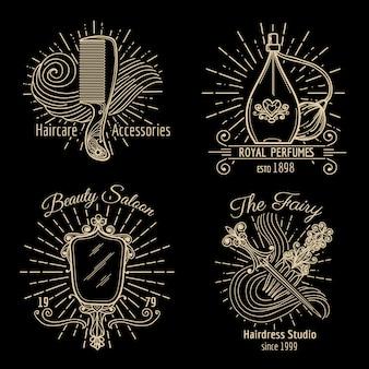 Uroda i pielęgnacja wektor zestaw logo. pielęgnacja piękna, logo spa, etykieta modowa, ilustracja logo fryzury i pielęgnacji włosów