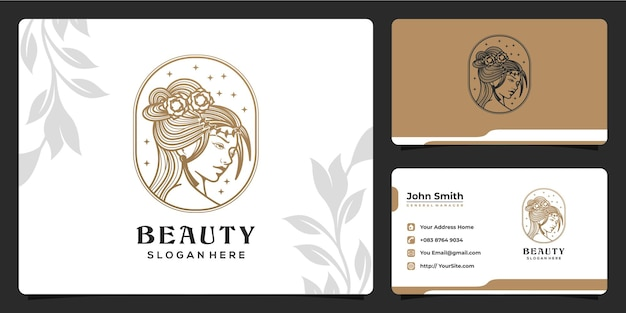 Uroda kobiety monoline luksusowy projekt logo i szablon wizytówki