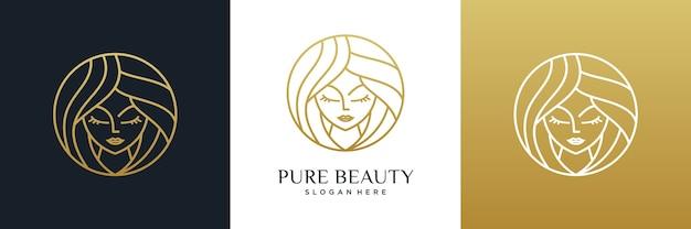Uroda kobiety salon fryzjerski logo projekt linii stylu sztuki.