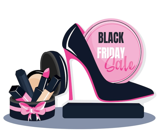 Uroda makijaż buty czarny piątek szablon transparent. projekt plakatu reklamowego dla salonu kosmetycznego, bloga, magazynu, ofert i promocji. ilustracja wektorowa. drukuj