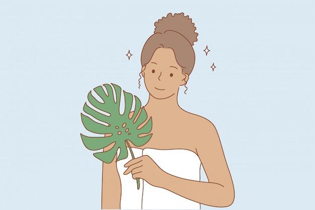 Uroda, makijaż, ekologia, koncepcja reklamy