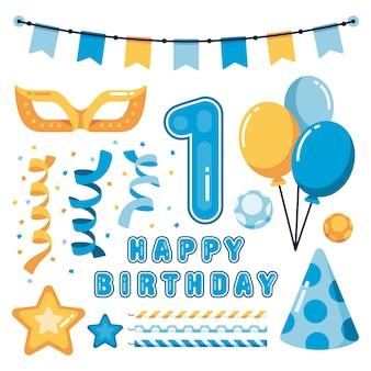 Urodzinowa dekoracja z girlandą i balonami