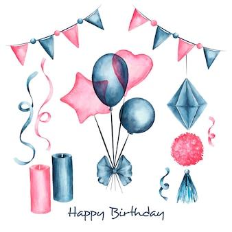 Urodzinowa dekoracja z kolorowymi balonami