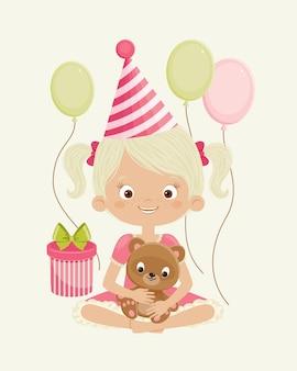 Urodzinowa dziewczyna z misiem, pudełkiem i balonami. pojedynczo na białym. szczęśliwe dziecko z prezentami. sztuka wektor.