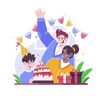 Urodzinowa ilustracja z ciastem