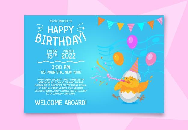 Urodzinowa karta zaproszenie z kurczakiem.