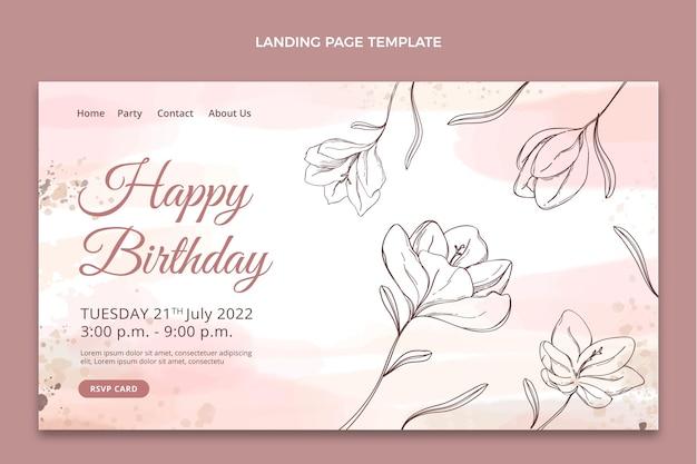 Urodzinowa strona docelowa narysowana ręcznie akwarelą