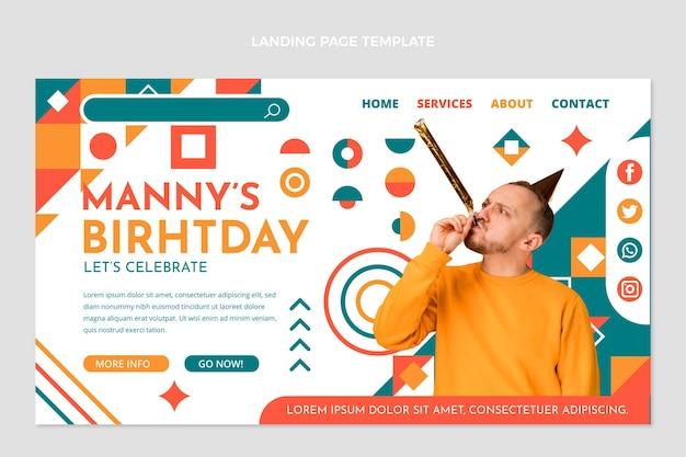 Urodzinowa strona docelowa z mozaiką o płaskiej konstrukcji