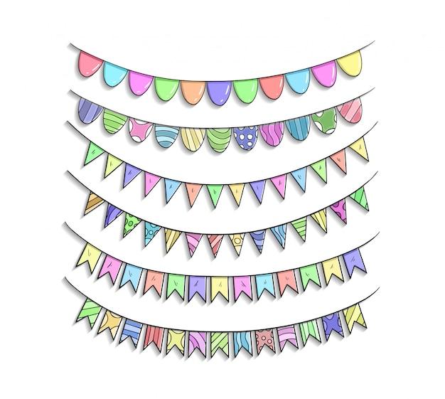 Urodzinowa tasiemkowa set ręka rysuje kolorową ilustrację