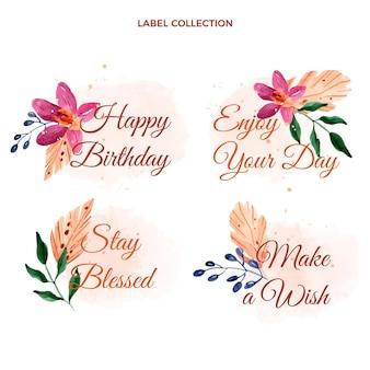 Urodzinowe etykiety akwarelowe boho