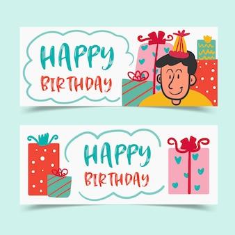 Urodzinowe kartki okolicznościowe ozdobione chłopcem i pudełkami na prezenty