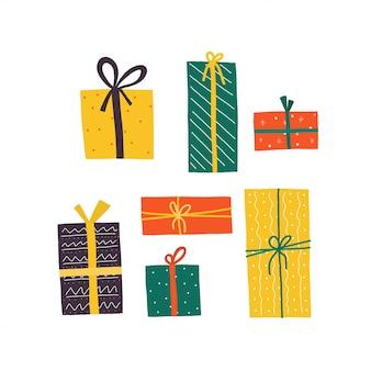 Urodzinowe pudełka na prezenty, świetny design do wszelkich celów. otwiera prezenta pudełka wektoru ilustrację. wesołych świąt bożego narodzenia. wstążka kolorowa.