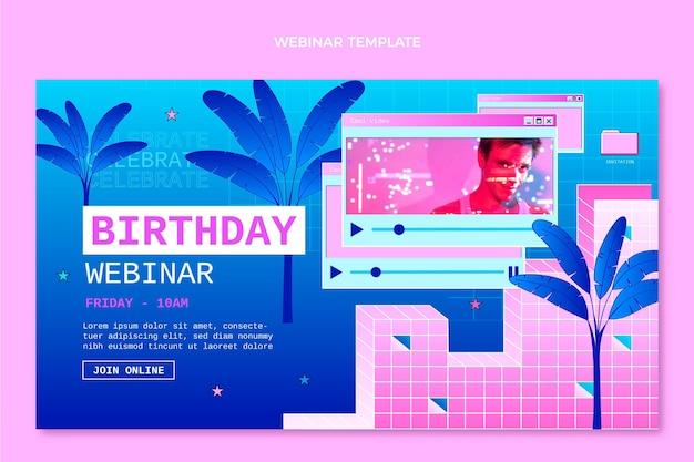 Urodzinowe webinarium gradientowe retro vaporwave
