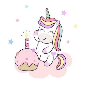 Urodzinowego torta śliczny szczęśliwy jednorożec wektor