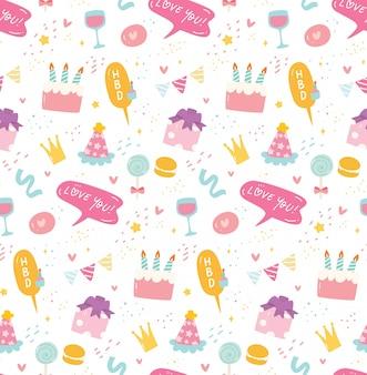 Urodzinowy bezszwowy tło w kawaii stylu