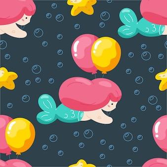 Urodzinowy bezszwowy wzór z śliczną syrenką i balonami.